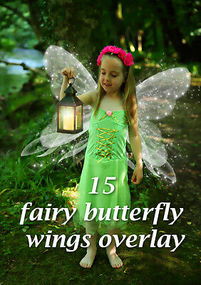 15 fairy butterfly wings overlays for photoshop  png file