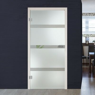 Full Swing Glass Door Interior with Hardware & Frosted Design + Lines Design