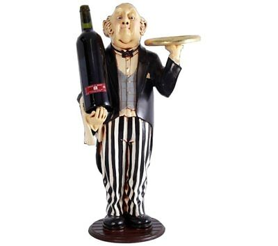 Wine Holder with Tray Statue Connoisseur Bottle Holder Butler 2ft Display Decor