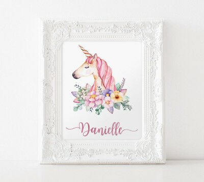 UNFRAMED Personalised Unicorn Print 10x8""