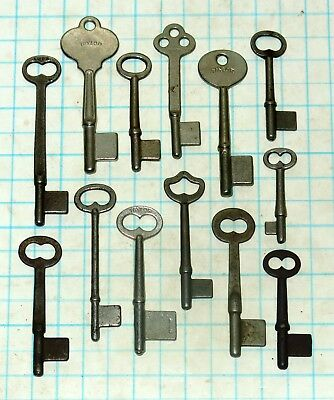 True Vtg Antique old Uncut Skeleton Pass keys Lot Barrel Blank Door Lock Key Set