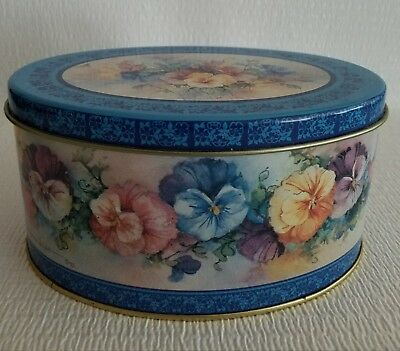 Collectors  Oval Candy Tin Floral Art by Carolyn Shores Wright 1992
