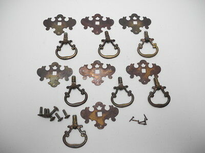 "Set of 7 Antique Drop Down Pulls with 2.3"" X 1.65"" Victorian Backplate"