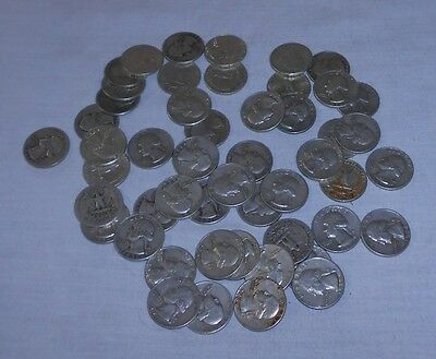 "Washington Quarters, Circulated Loose Lot Of 40, Mixed Dates ""pre-1965"" Good!"