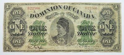 1878 Dominion of Canada One Dollar / $1.00 Banknote - Countess of Dufferin - VG