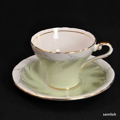 Aynsley Corset Cup & Saucer Set 1934-1939 Gray Wheat on Pastel Lime Green w/Gold