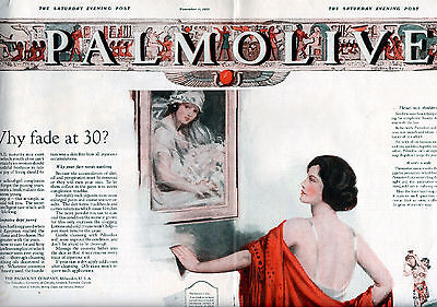 1922 Palmolive Soap Ad --- Neysa McMein ---2 Page Centerfold 20 1/2 x 14---x1086