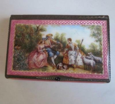 Antique Elegant German Guilloche Enamel Hand Painted Gilt Silver Box