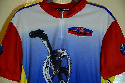 Vintage Polo Sport Ralph Lauren 67 Cycling Jersey 1992 P-Wing Stadium Size XL