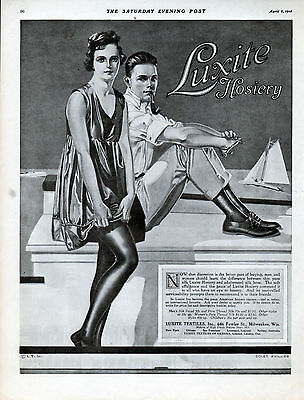 1918 Luxite Hosiery Ad --Illustrated By ---Coles Phillips---z 663
