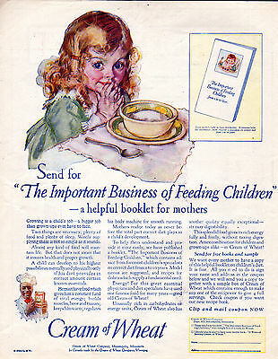 "1925 Cream of Wheat Cereal Ad -""The Important Business of Feeding Children-[-785"