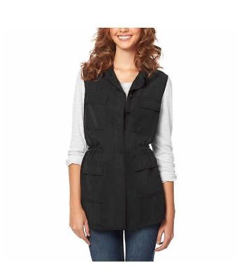 NEW Buffalo David Bitton Ladies' Lightweight Washed BLACK Vest- L-