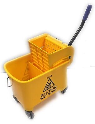 Durable 24 Quart Mini Yellow Cleaning Mop Bucket Wringer With Wheels