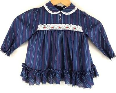 Vintage Baby Girl Toddler Doll Blue Dress Lace Stripe Lace Cuffs Red Flower 80's