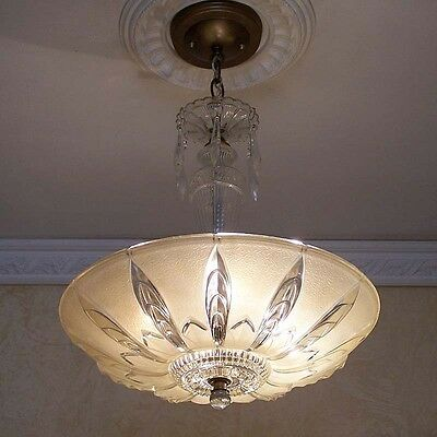 966 40's Vintage Ceiling Light Lamp Fixture Glass Crystal Chandelier