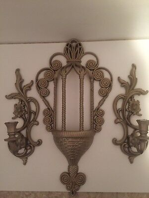 HOMCO Vintage Painted Planter And Sconces Set.