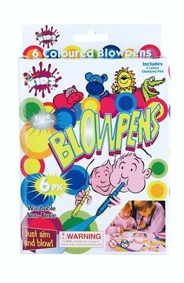 6 pcs Blow Pens Air Spray Markers Washable Kids Coloured Blow Marker Non Toxic