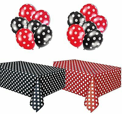 Polka Dot Plastic Tablecloth Red & White and Black & White, and Two Packages of