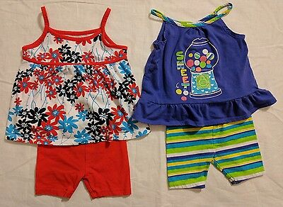 Lot of 2 Healthtex 2 pc Baby Summer Outfits size 18 months girls