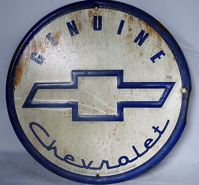 Vintage Chevrolet Genuine Metal Tin Round Sign