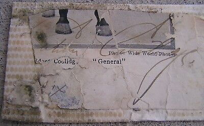 "President Calvin Coolidge Signed Autographed Political Cartoon 2"" X 4"""
