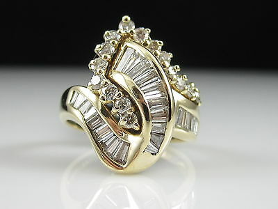14K Diamond Cluster Ring 14K Yellow 1.50ctw Fine Jewelry Baguette Cocktail $3800