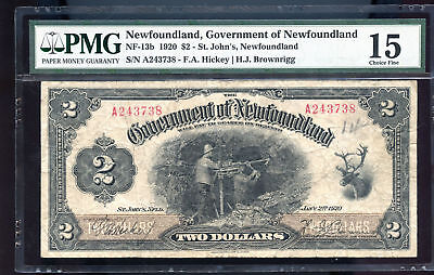RARE  NF-13b 1920 Government of Newfoundland $2 PMG Certified Choice F15 Canada