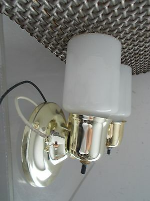 Vintage Pair Art Deco Style Brass Bathroom Wall Sconces Light Fixtures Milkglass