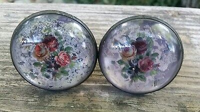 Antique Reverse Painted Tie Backs 2 Curtains Roses brass domed glass