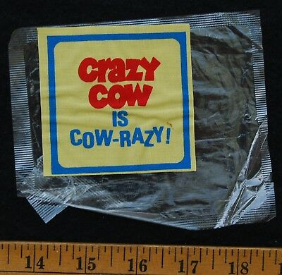 [ 1970s CRAZY COW Cereal - Vintage Decal / Iron-on Early TEST MARKET Premium ! ]