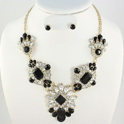 Elegant Wedding Pageant Gold Black Crystal Parisian Costume Fashion Necklace Set