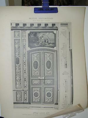 VINTAGE Pair of Prints of French Doors Louis XlV Institution Pompee Architecture