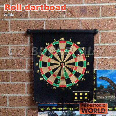 """17"""" Magnetic Rollup Dart Board w/ 6 Darts Large Dartboard Game Double Side"""