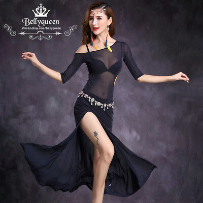 New 2017 Sexy Women Shinning Belly Dance Costumes Set Long Dress Dark Blue M L