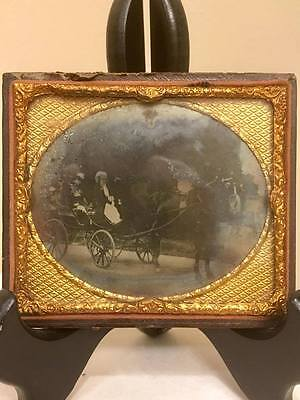 1/6 Ambrotype Rare Elegant Horse & Carriage Female Driver and Passenger Outside