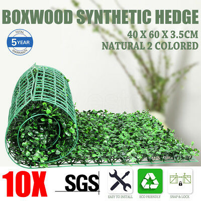 10x Artificial Boxwood Hedge Fake Vertical Garden Green Wall Ivy Mat Fence AU
