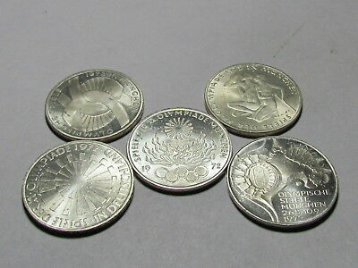 Set of 5 1972 Munich Olympics silver 10 mark Coins #1