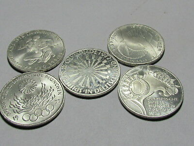 Set of 5 1972 Munich Olympics silver 10 mark Coins #2