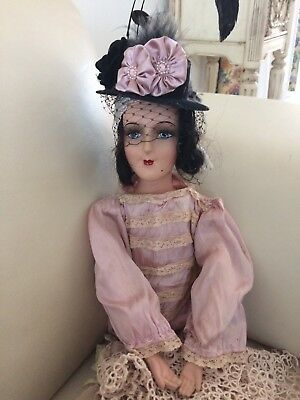Antique French Boudoir Doll Composition Head & Hands Human Hair Hand Sewn Dress