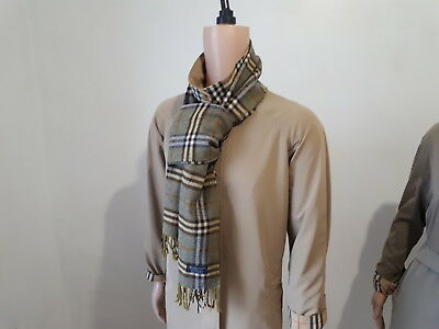 100% Authentic Burberry London Scarf 100% Lambswool Made In England Unisex Green