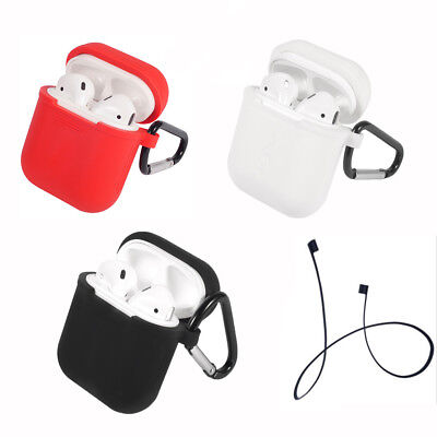 Lot Silicone Cover Case Bag+Headset Anti Lost Rope For Apple AirPod Charge Clip