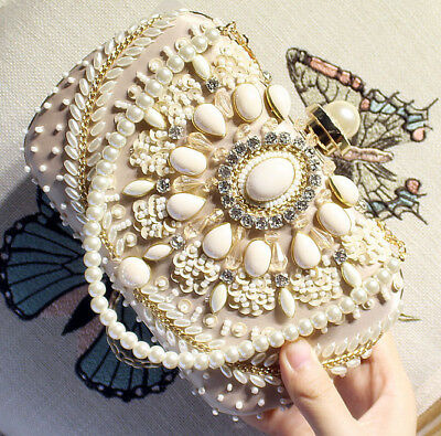 Women Beaded Party Wedding Purse Handbags Evening Prom Clutch Chain bag Crystal