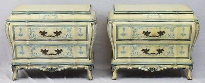 Pair Karges BOMBE KARGES Ornate NIGHTSTANDS Commodes Hand Painted