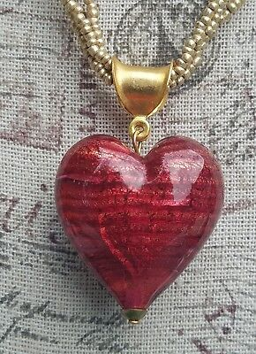 Red Art Glass chunky heart pendant , gold tone seed bead necklace