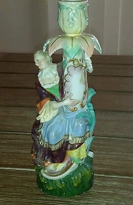 Lovely Antique Meissen Figural Candle Holder - 22.1cm - c1830 - Blue Mark