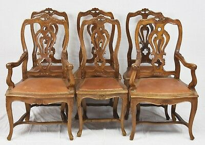 Set Of 6 French Louis XVI Style Carved Walnut Dining Room Chairs