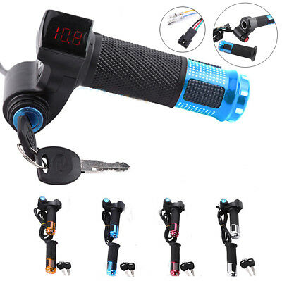 12-90V EBike Electric Scooter Throttle Grip Handlebar with LED Digital Meter SD