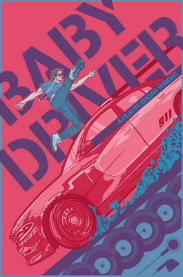 """053 Baby Driver - Ansel Elgort Car Crime Actioon UK Movie 24""""x36"""" Poster"""