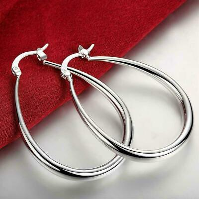 Womens 925 Sterling Silver Classic 41mm Oval Shaped Vogue Hoop Earrings #E61