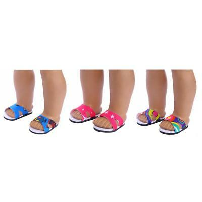 3Pair Sandals Slippers Shoes for 18 inch American Girl Doll Clothes Dress Up